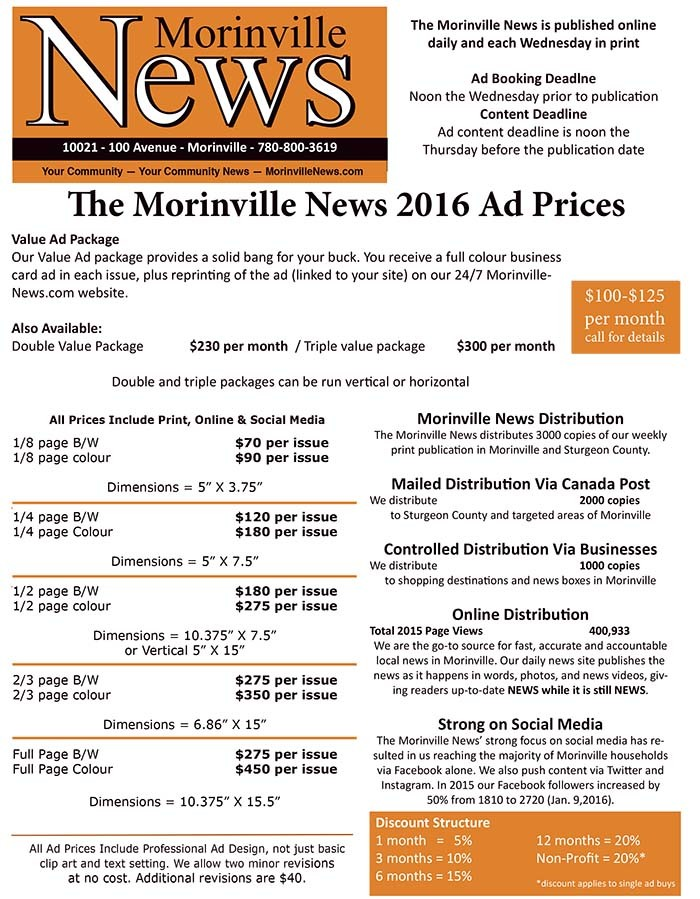 2016 Morinville News Ad Prices